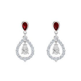 Pear White Sapphire Sterling Silver Earrings with Ruby & Diamond