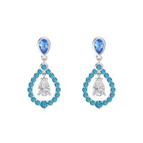 Pear White Sapphire Sterling Silver Earrings with Blue Topaz & London Blue Topaz