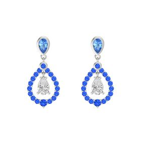 Pear White Sapphire Sterling Silver Earrings with Blue Topaz & Sapphire