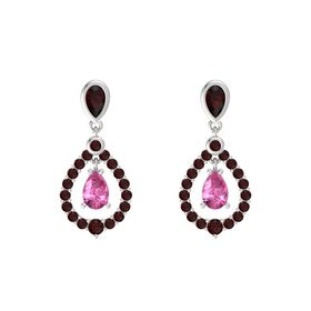 Pear Pink Sapphire Sterling Silver Earrings with Red Garnet