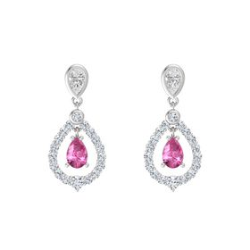 Pear Pink Sapphire Sterling Silver Earrings with White Sapphire & Diamond