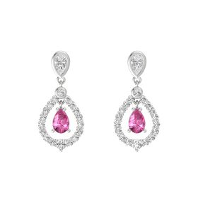 Pear Pink Sapphire Sterling Silver Earring with White Sapphire