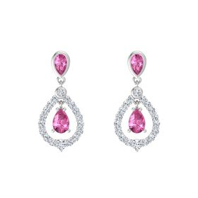 Pear Pink Sapphire Sterling Silver Earring with Pink Sapphire and Diamond