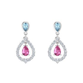 Pear Pink Sapphire Sterling Silver Earrings with Aquamarine & Diamond
