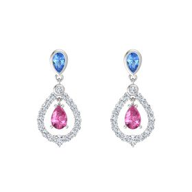 Pear Pink Sapphire Sterling Silver Earrings with Blue Topaz & Diamond