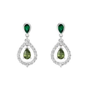 Pear Green Tourmaline Sterling Silver Earrings with Emerald & White Sapphire