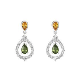 Pear Green Tourmaline Sterling Silver Earrings with Citrine & White Sapphire
