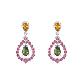 Pear Green Tourmaline Sterling Silver Earrings with Citrine & Pink Tourmaline