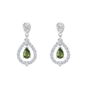 Pear Green Tourmaline Sterling Silver Earring with White Sapphire and Diamond