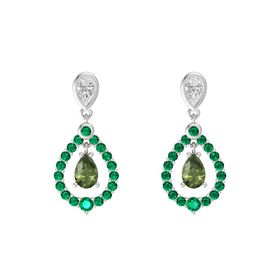 Pear Green Tourmaline Sterling Silver Earring with White Sapphire and Emerald