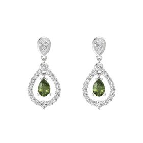 Pear Green Tourmaline Sterling Silver Earrings with White Sapphire