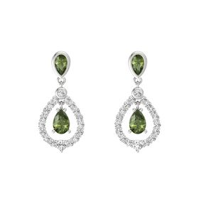 Pear Green Tourmaline Sterling Silver Earring with Green Tourmaline and White Sapphire