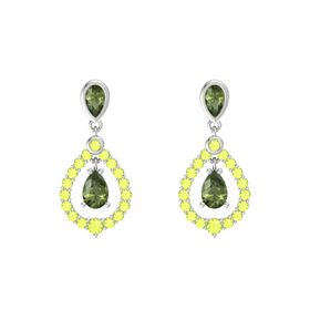 Pear Green Tourmaline Sterling Silver Earring with Green Tourmaline and Peridot