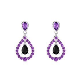 Pear Black Onyx Sterling Silver Earrings with Amethyst