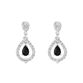 Pear Black Onyx Sterling Silver Earrings with White Sapphire
