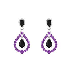 Pear Black Onyx Sterling Silver Earrings with Black Onyx & Amethyst
