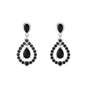 Pear Black Onyx Sterling Silver Earring with Black Onyx and Black Diamond