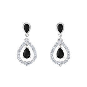 Pear Black Onyx Sterling Silver Earrings with Black Onyx & Diamond
