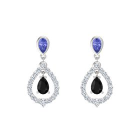 Pear Black Onyx Sterling Silver Earring with Tanzanite and Diamond