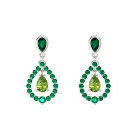 Pear Peridot Sterling Silver Earring with Emerald