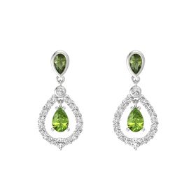 Pear Peridot Sterling Silver Earrings with Green Tourmaline & White Sapphire