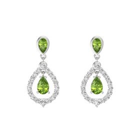 Pear Peridot Sterling Silver Earring with Peridot and White Sapphire