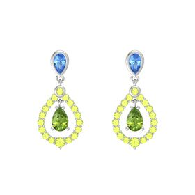 Pear Peridot Sterling Silver Earring with Blue Topaz and Peridot