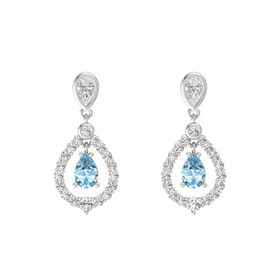 Pear Aquamarine Sterling Silver Earrings with White Sapphire