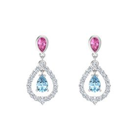 Pear Aquamarine Sterling Silver Earring with Pink Sapphire and Diamond