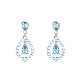 Pear Aquamarine Sterling Silver Earrings with Aquamarine