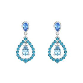 Pear Aquamarine Sterling Silver Earring with Blue Topaz and London Blue Topaz