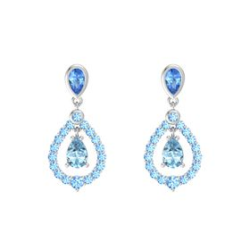 Pear Aquamarine Sterling Silver Earring with Blue Topaz