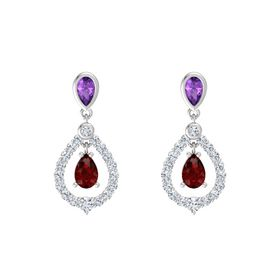 Pear Ruby Sterling Silver Earrings with Amethyst & Diamond