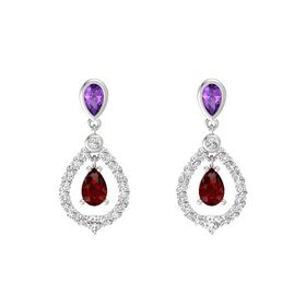 Pear Ruby Sterling Silver Earrings with Amethyst & White Sapphire