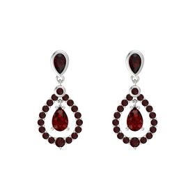Pear Ruby Sterling Silver Earring with Red Garnet