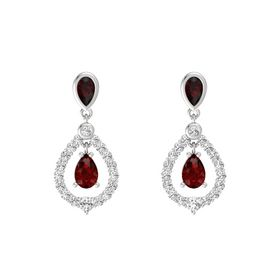 Pear Ruby Sterling Silver Earring with Red Garnet and White Sapphire