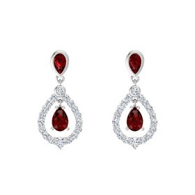 Pear Ruby Sterling Silver Earrings with Ruby & Diamond