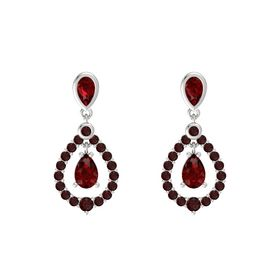 Pear Ruby Sterling Silver Earring with Ruby and Red Garnet