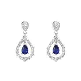Pear Sapphire Sterling Silver Earrings with White Sapphire