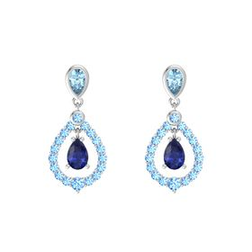 Pear Blue Sapphire Sterling Silver Earring with Aquamarine and Blue Topaz