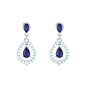 Pear Sapphire Sterling Silver Earrings with Sapphire & Aquamarine