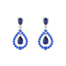 Pear Sapphire Sterling Silver Earrings with Sapphire