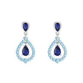 Pear Blue Sapphire Sterling Silver Earring with Blue Sapphire and Blue Topaz