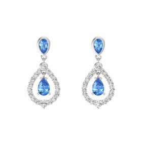 Pear Blue Topaz Sterling Silver Earring with Blue Topaz and White Sapphire