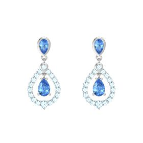 Pear Blue Topaz Sterling Silver Earring with Blue Topaz and Aquamarine
