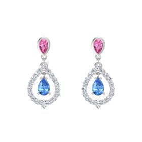 Pear Blue Topaz Sterling Silver Earring with Pink Tourmaline and Diamond