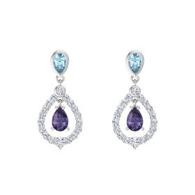 Pear Iolite Sterling Silver Earring with Aquamarine and Diamond