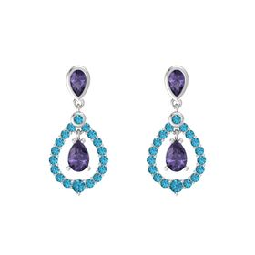 Pear Iolite Sterling Silver Earring with Iolite and London Blue Topaz
