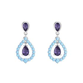 Pear Iolite Sterling Silver Earrings with Iolite & Blue Topaz