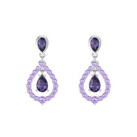 Pear Iolite Sterling Silver Earrings with Iolite